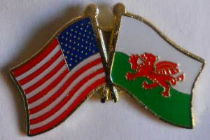 USA and Wales Friendship Flag Pin Badge